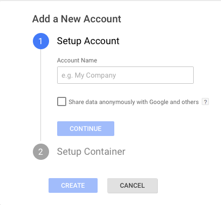 google tag manager account