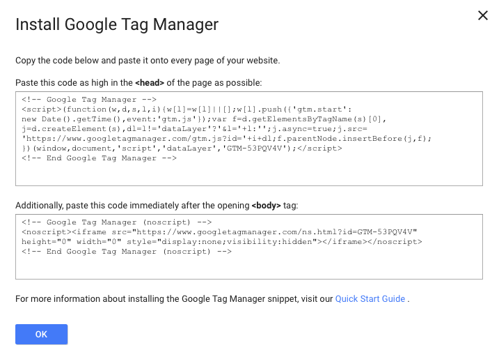 google tag manager install