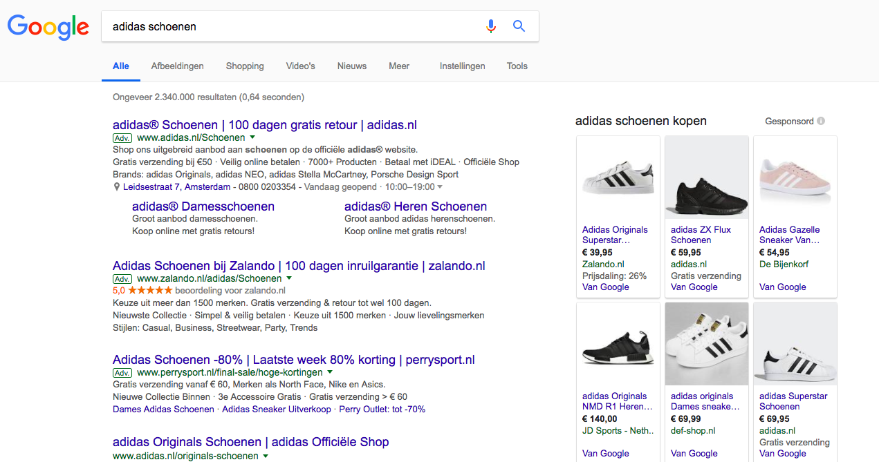 google resultaten